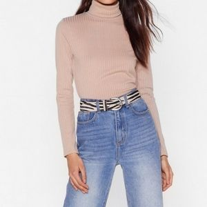 🔴NWOT Roll With It Ribbed Turtleneck